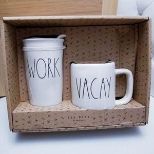 NWT Rae Dunn WORK Travel Tumbler & VACAY Mug